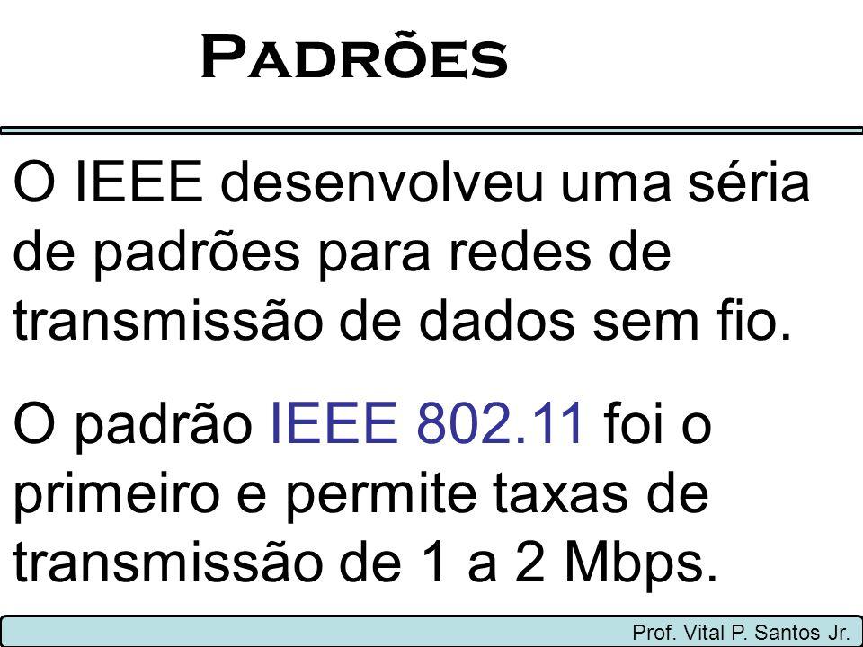Padrões O IEEE desenvolveu uma séria de padrões para redes de transmissão de dados sem fio.