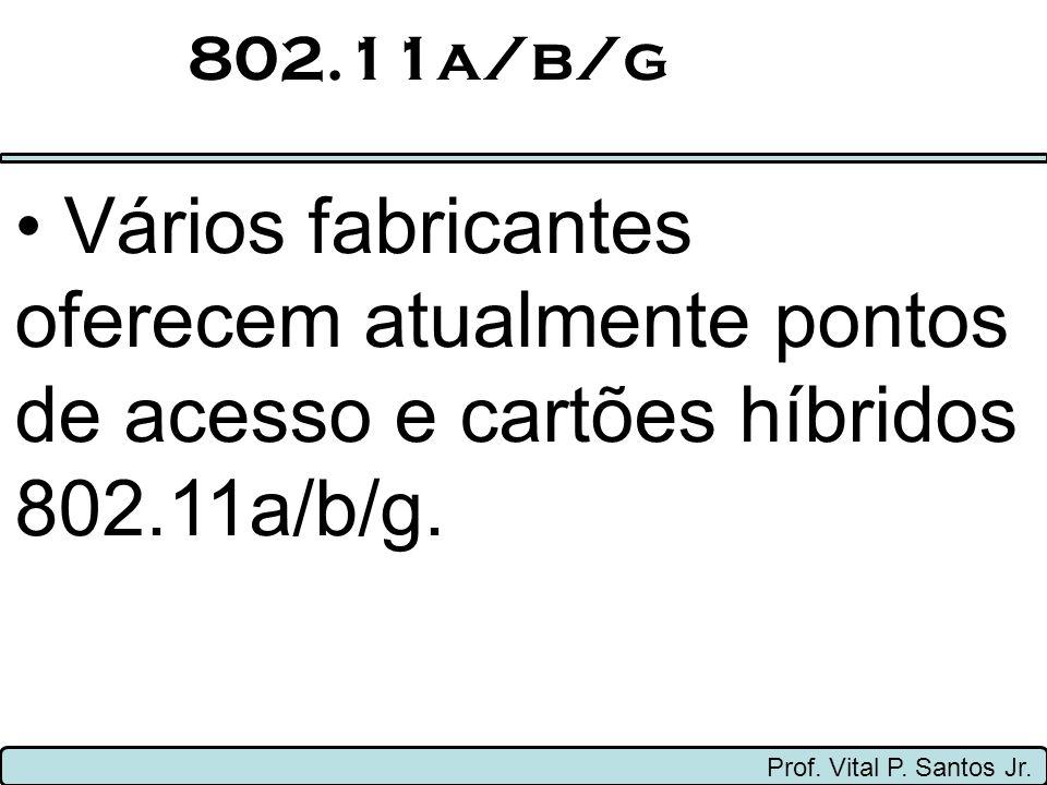 802.11a/b/g Vários fabricantes oferecem atualmente pontos de acesso e cartões híbridos 802.11a/b/g.