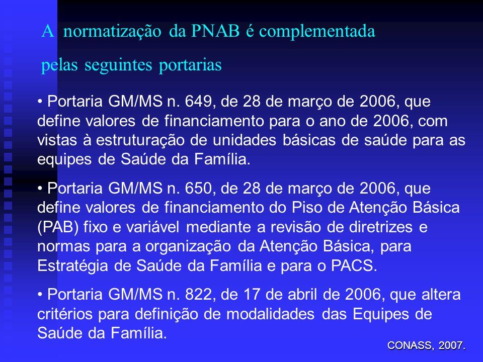 A normatização da PNAB é complementada pelas seguintes portarias