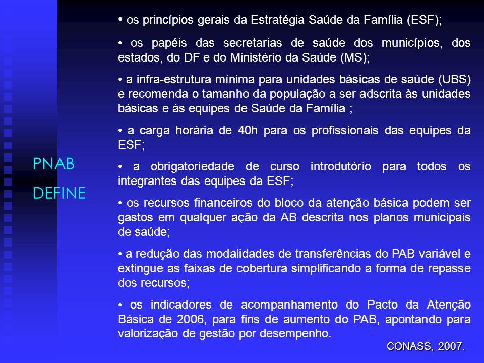 • os princípios gerais da Estratégia Saúde da Família (ESF);