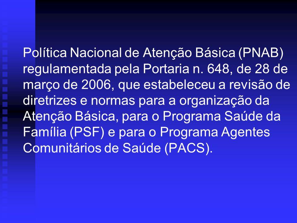 Política Nacional de Atenção Básica (PNAB) regulamentada pela Portaria n.