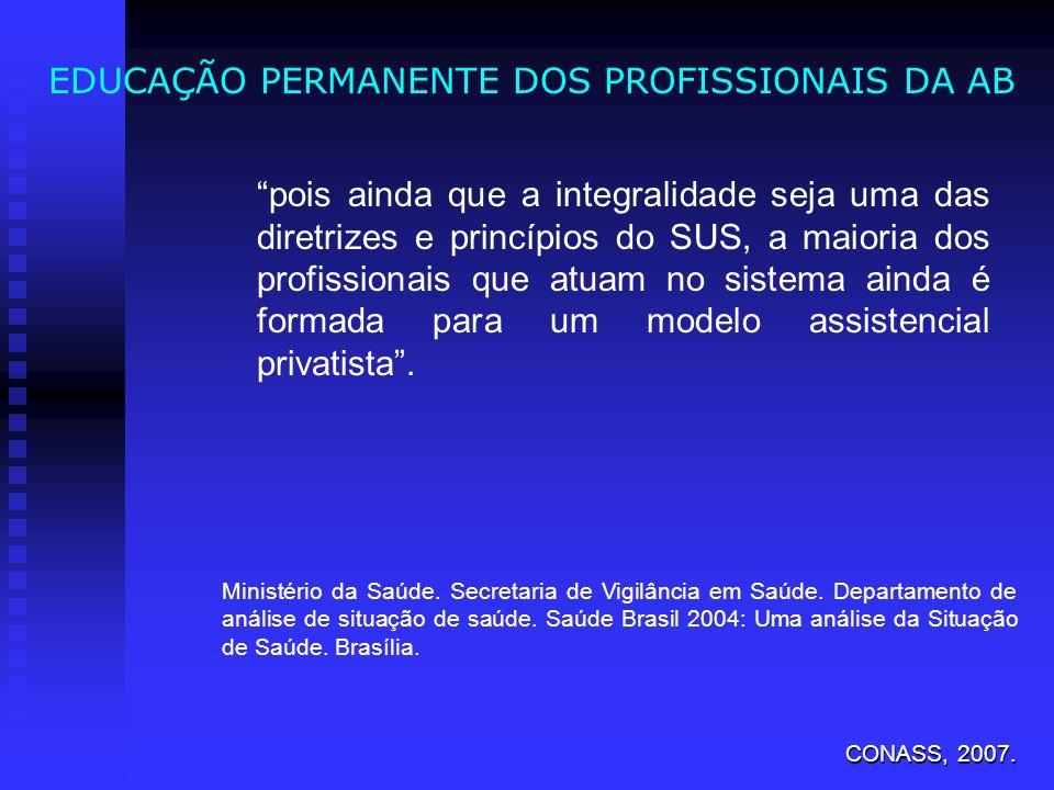 EDUCAÇÃO PERMANENTE DOS PROFISSIONAIS DA AB