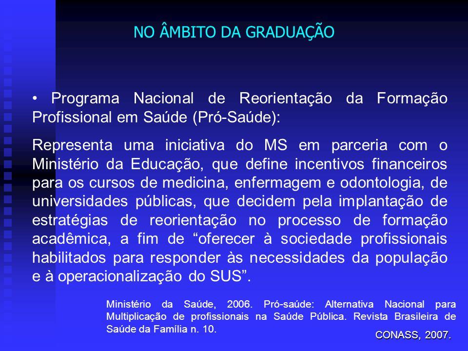 NO ÂMBITO DA GRADUAÇÃO • Programa Nacional de Reorientação da Formação Profissional em Saúde (Pró-Saúde):