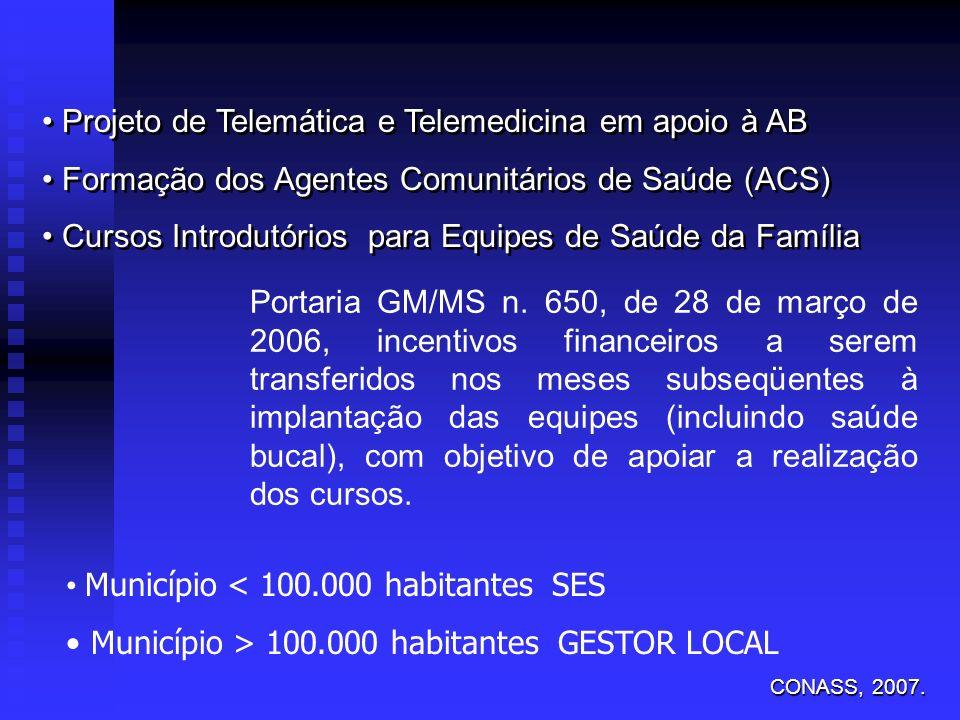 Projeto de Telemática e Telemedicina em apoio à AB