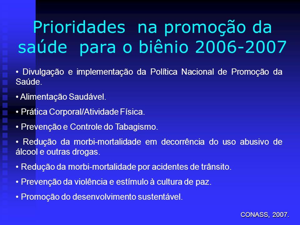 Prioridades na promoção da saúde para o biênio 2006-2007