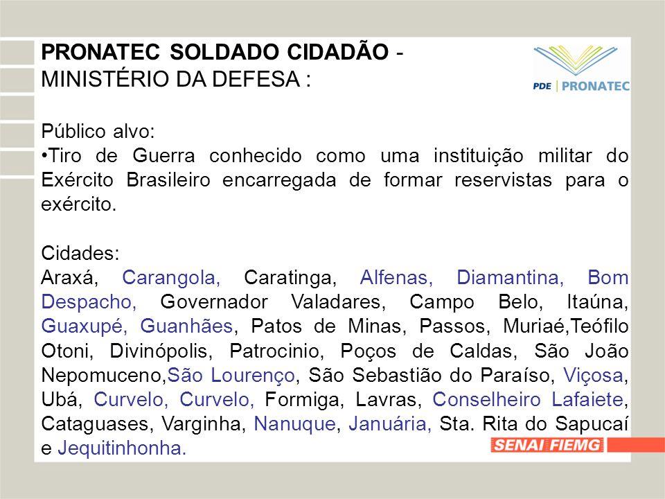 PRONATEC SOLDADO CIDADÃO - MINISTÉRIO DA DEFESA :