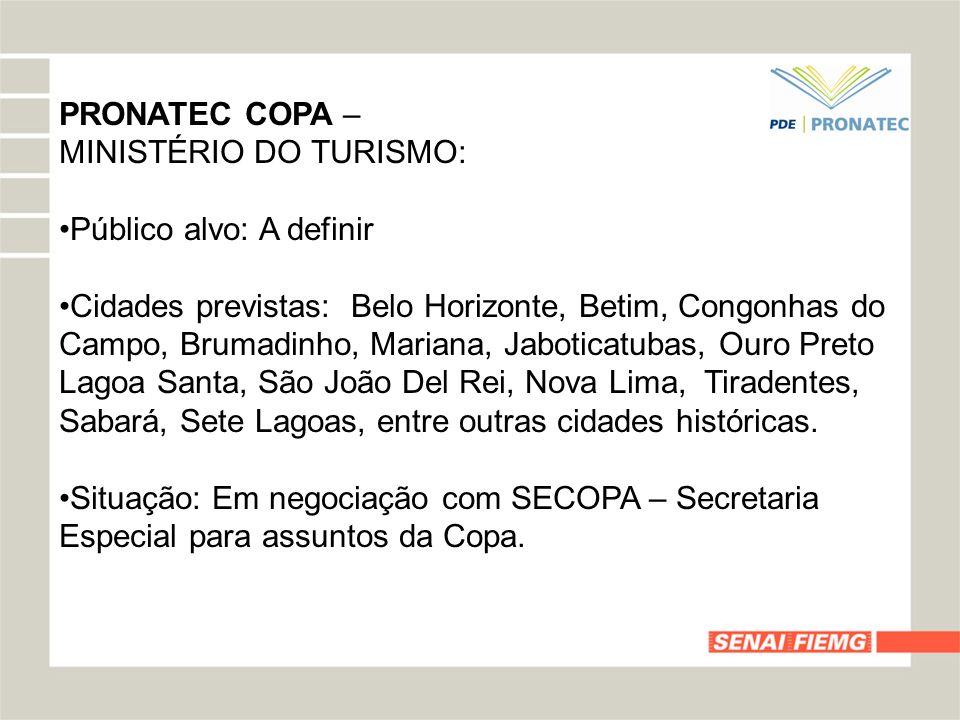 PRONATEC COPA –MINISTÉRIO DO TURISMO: Público alvo: A definir.