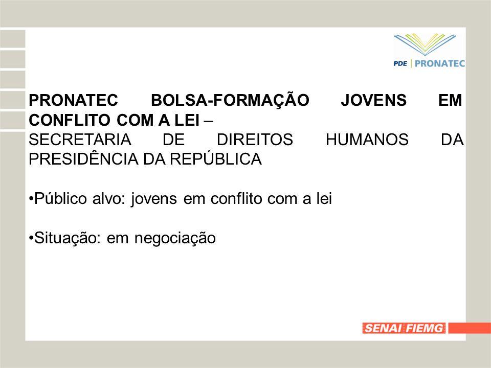 PRONATEC BOLSA-FORMAÇÃO JOVENS EM CONFLITO COM A LEI –
