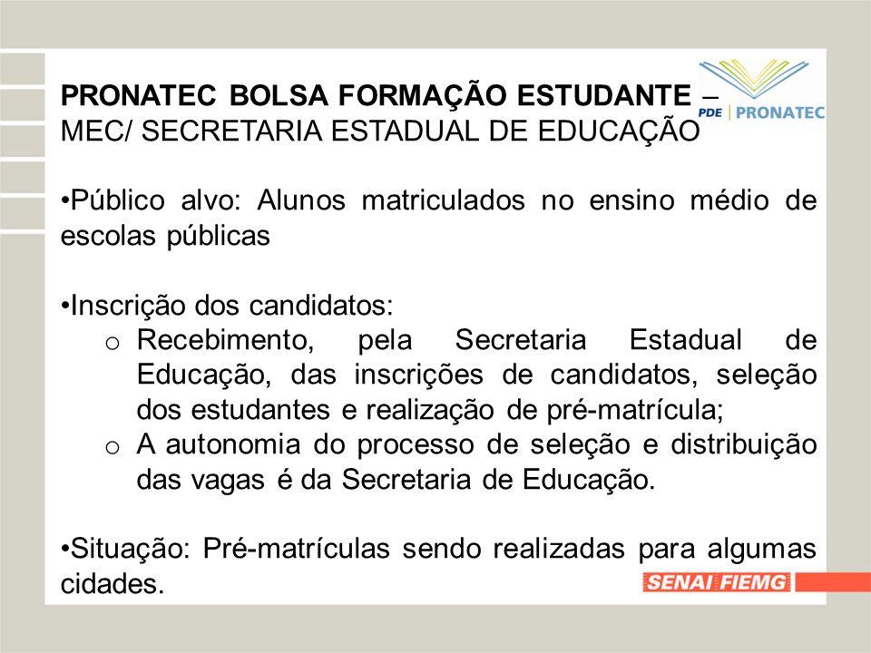 PRONATEC BOLSA FORMAÇÃO ESTUDANTE –