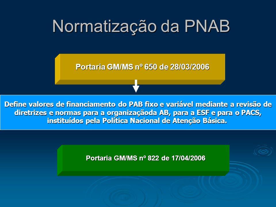 Normatização da PNAB Portaria GM/MS nº 650 de 28/03/2006