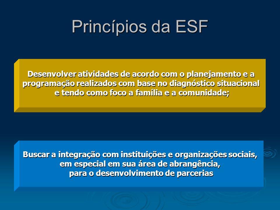 Princípios da ESF Desenvolver atividades de acordo com o planejamento e a. programação realizados com base no diagnóstico situacional.