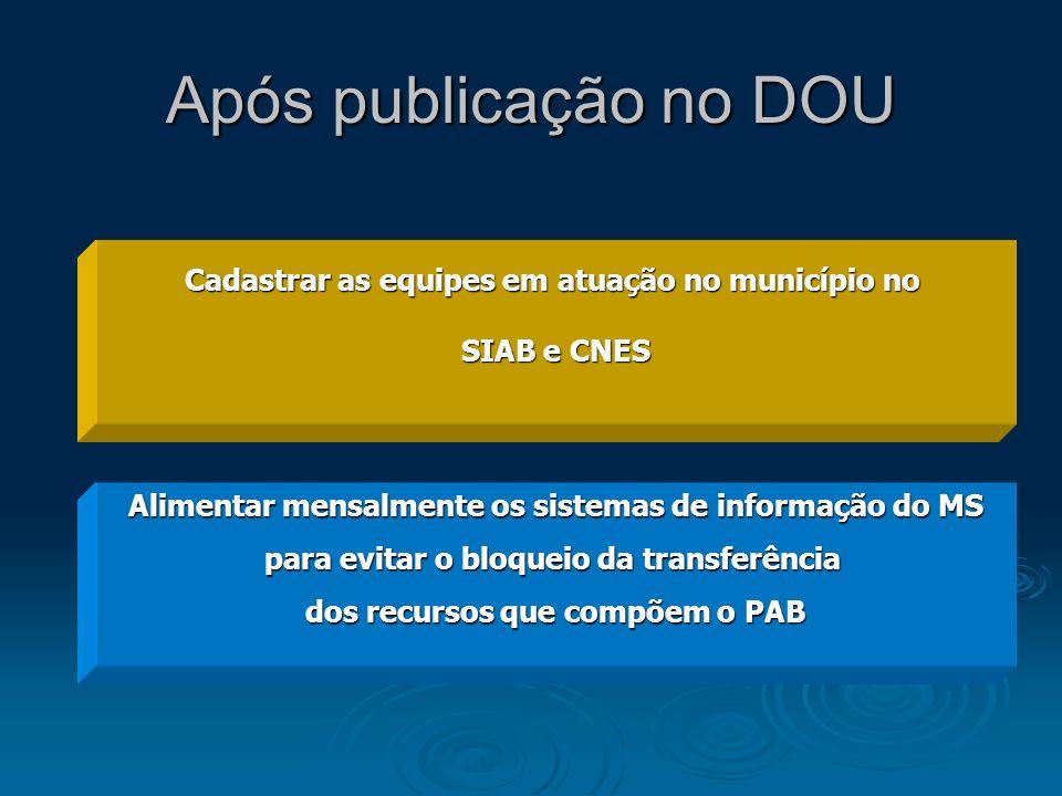 Após publicação no DOU Cadastrar as equipes em atuação no município no