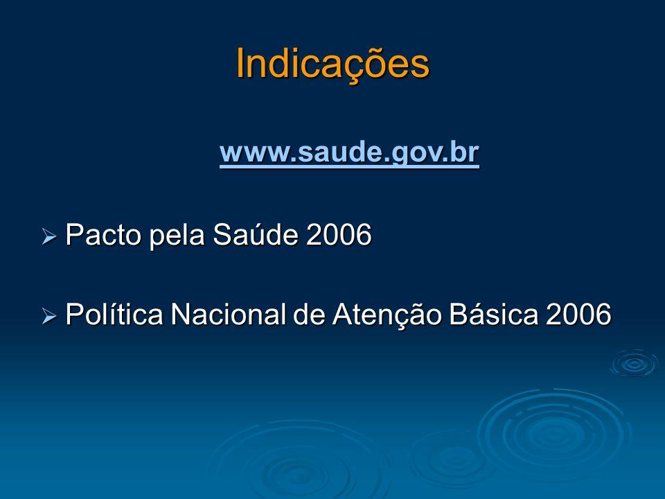 Indicações www.saude.gov.br Pacto pela Saúde 2006