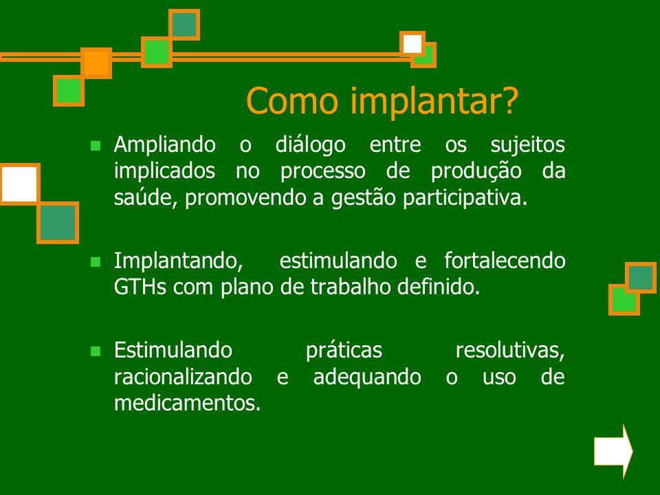 Como implantar Ampliando o diálogo entre os sujeitos implicados no processo de produção da saúde, promovendo a gestão participativa.