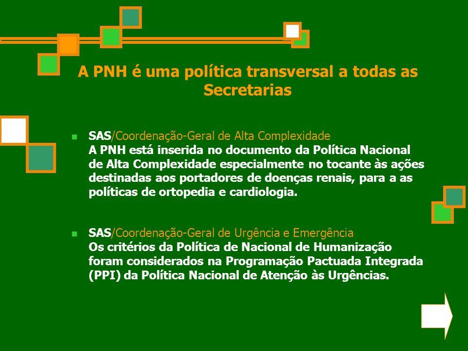 A PNH é uma política transversal a todas as Secretarias