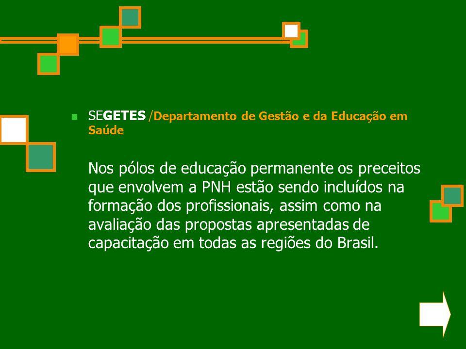 SEGETES /Departamento de Gestão e da Educação em Saúde Nos pólos de educação permanente os preceitos que envolvem a PNH estão sendo incluídos na formação dos profissionais, assim como na avaliação das propostas apresentadas de capacitação em todas as regiões do Brasil.