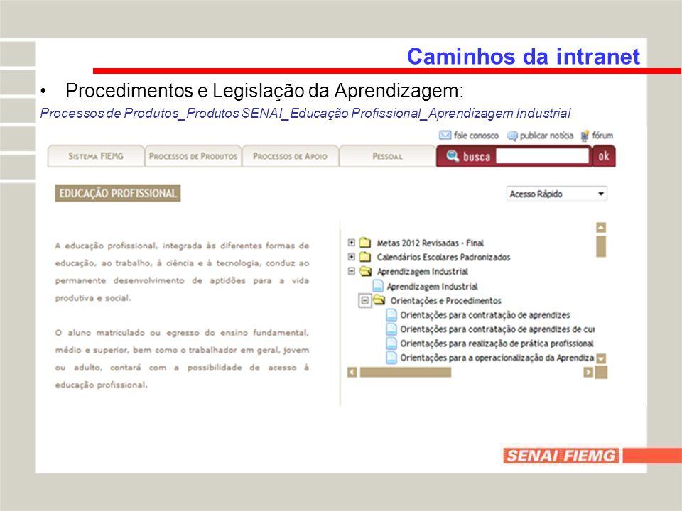 Caminhos da intranet Procedimentos e Legislação da Aprendizagem: