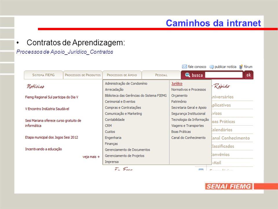 Caminhos da intranet Contratos de Aprendizagem: