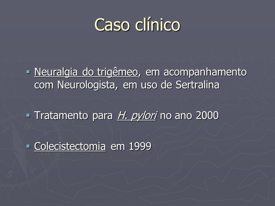 Caso clínico Neuralgia do trigêmeo, em acompanhamento com Neurologista, em uso de Sertralina. Tratamento para H. pylori no ano 2000.
