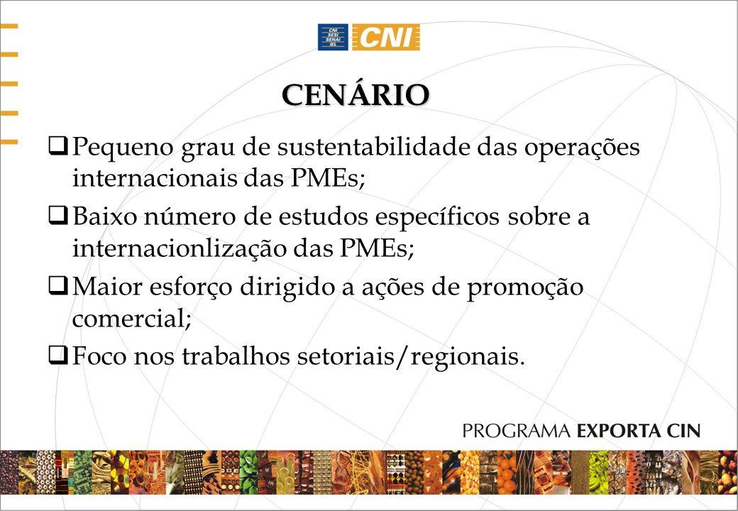 CENÁRIOPequeno grau de sustentabilidade das operações internacionais das PMEs;