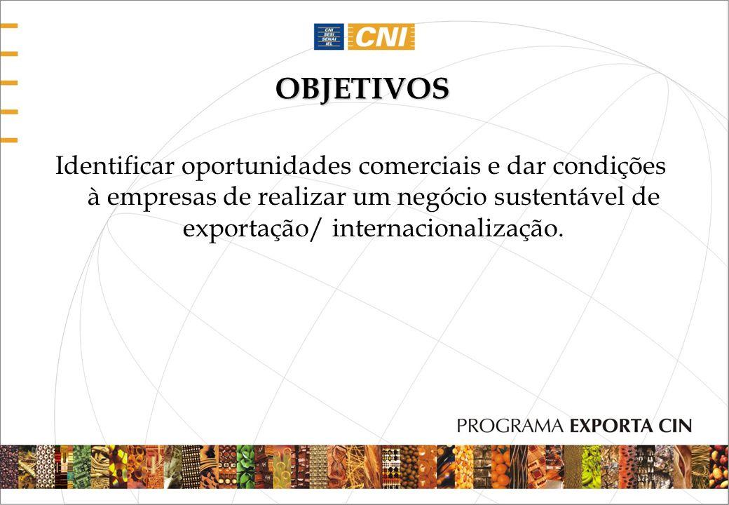 OBJETIVOSIdentificar oportunidades comerciais e dar condições à empresas de realizar um negócio sustentável de exportação/ internacionalização.