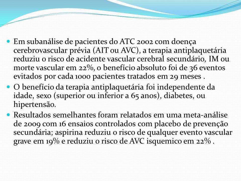 Em subanálise de pacientes do ATC 2002 com doença cerebrovascular prévia (AIT ou AVC), a terapia antiplaquetária reduziu o risco de acidente vascular cerebral secundário, IM ou morte vascular em 22%, o benefício absoluto foi de 36 eventos evitados por cada 1000 pacientes tratados em 29 meses .