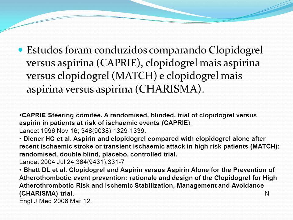 Estudos foram conduzidos comparando Clopidogrel versus aspirina (CAPRIE), clopidogrel mais aspirina versus clopidogrel (MATCH) e clopidogrel mais aspirina versus aspirina (CHARISMA).