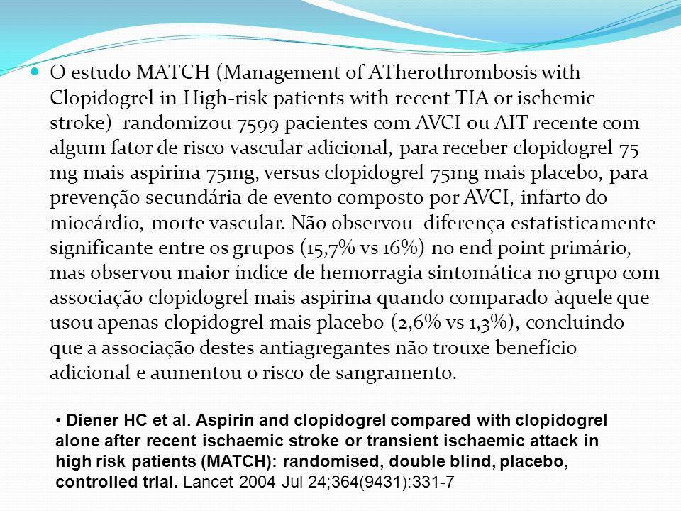 O estudo MATCH (Management of ATherothrombosis with Clopidogrel in High-risk patients with recent TIA or ischemic stroke) randomizou 7599 pacientes com AVCI ou AIT recente com algum fator de risco vascular adicional, para receber clopidogrel 75 mg mais aspirina 75mg, versus clopidogrel 75mg mais placebo, para prevenção secundária de evento composto por AVCI, infarto do miocárdio, morte vascular. Não observou diferença estatisticamente significante entre os grupos (15,7% vs 16%) no end point primário, mas observou maior índice de hemorragia sintomática no grupo com associação clopidogrel mais aspirina quando comparado àquele que usou apenas clopidogrel mais placebo (2,6% vs 1,3%), concluindo que a associação destes antiagregantes não trouxe benefício adicional e aumentou o risco de sangramento.