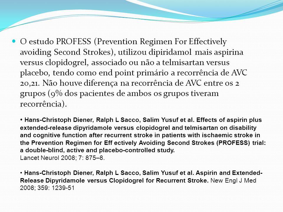 O estudo PROFESS (Prevention Regimen For Effectively avoiding Second Strokes), utilizou dipiridamol mais aspirina versus clopidogrel, associado ou não a telmisartan versus placebo, tendo como end point primário a recorrência de AVC 20,21. Não houve diferença na recorrência de AVC entre os 2 grupos (9% dos pacientes de ambos os grupos tiveram recorrência).