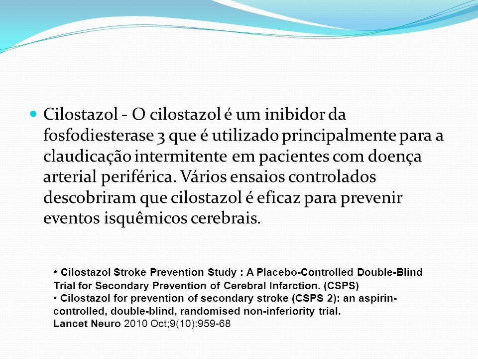 Cilostazol - O cilostazol é um inibidor da fosfodiesterase 3 que é utilizado principalmente para a claudicação intermitente em pacientes com doença arterial periférica. Vários ensaios controlados descobriram que cilostazol é eficaz para prevenir eventos isquêmicos cerebrais.