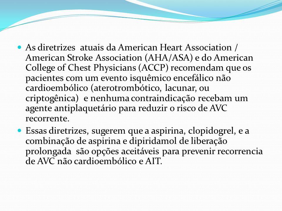 As diretrizes atuais da American Heart Association / American Stroke Association (AHA/ASA) e do American College of Chest Physicians (ACCP) recomendam que os pacientes com um evento isquêmico encefálico não cardioembólico (aterotrombótico, lacunar, ou criptogênica) e nenhuma contraindicação recebam um agente antiplaquetário para reduzir o risco de AVC recorrente.