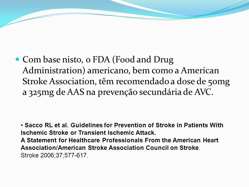 Com base nisto, o FDA (Food and Drug Administration) americano, bem como a American Stroke Association, têm recomendado a dose de 50mg a 325mg de AAS na prevenção secundária de AVC.