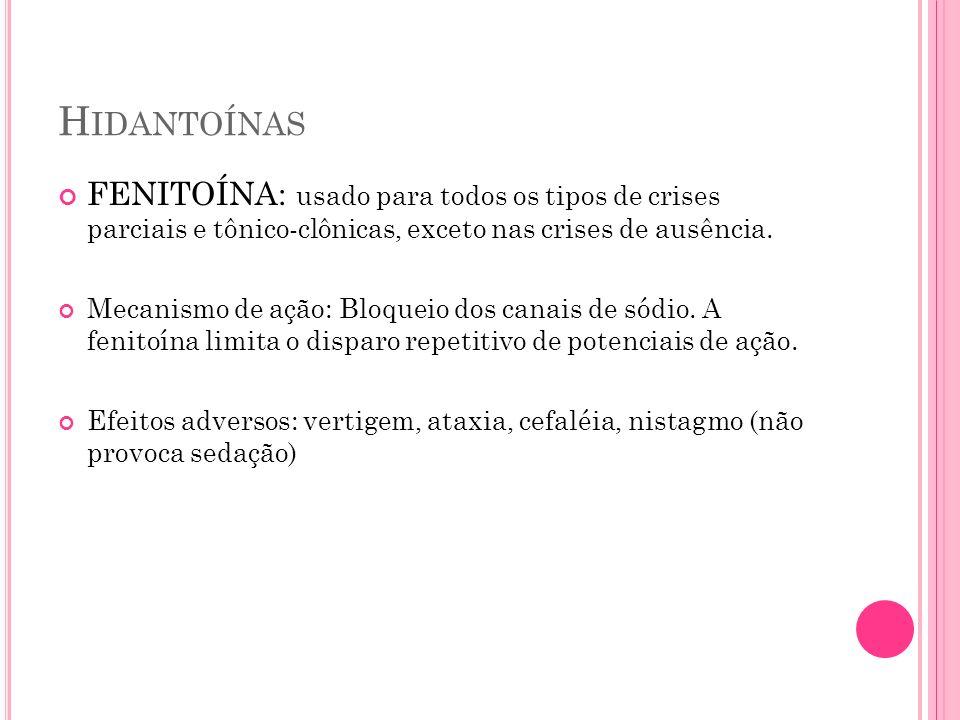 Hidantoínas FENITOÍNA: usado para todos os tipos de crises parciais e tônico-clônicas, exceto nas crises de ausência.