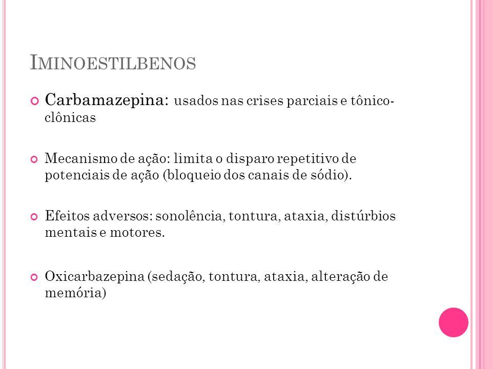 Iminoestilbenos Carbamazepina: usados nas crises parciais e tônico- clônicas.