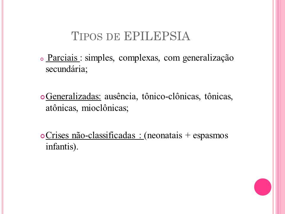 Tipos de EPILEPSIA Parciais : simples, complexas, com generalização secundária;