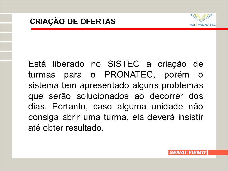 CRIAÇÃO DE OFERTAS