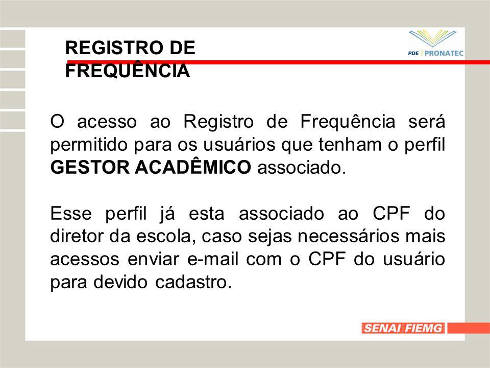 REGISTRO DE FREQUÊNCIA