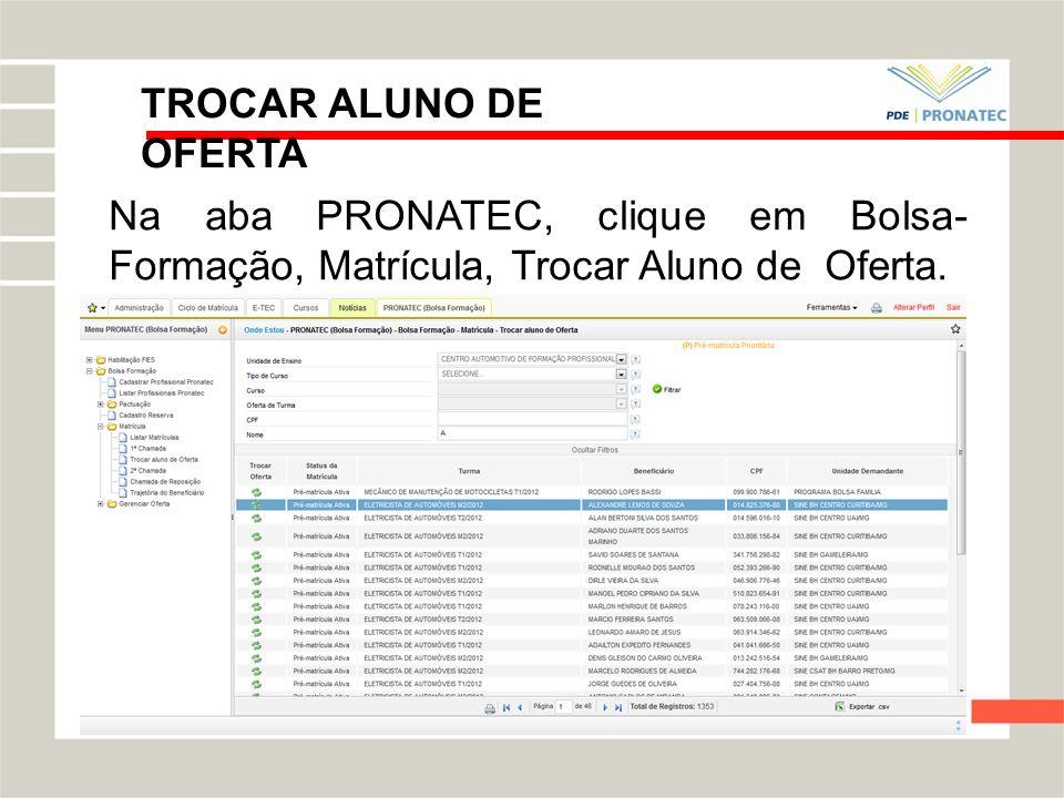 TROCAR ALUNO DE OFERTANa aba PRONATEC, clique em Bolsa- Formação, Matrícula, Trocar Aluno de Oferta.