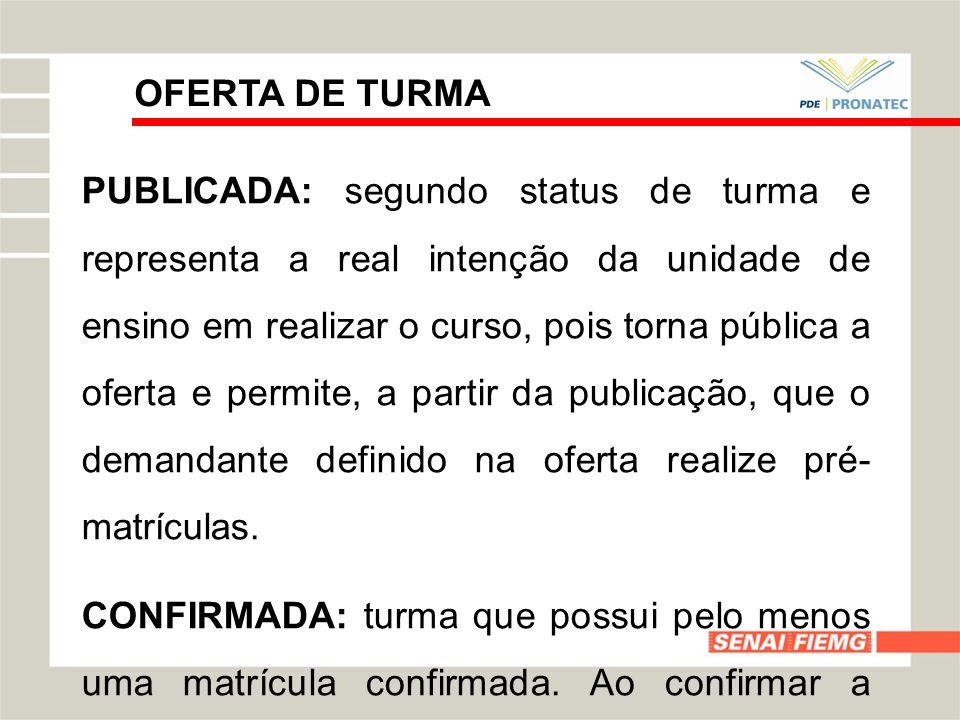 OFERTA DE TURMA