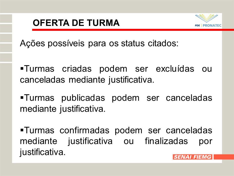 OFERTA DE TURMAAções possíveis para os status citados: Turmas criadas podem ser excluídas ou canceladas mediante justificativa.