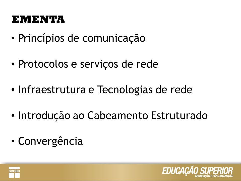 EMENTA Princípios de comunicação. Protocolos e serviços de rede. Infraestrutura e Tecnologias de rede.