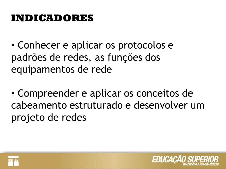 INDICADORESConhecer e aplicar os protocolos e padrões de redes, as funções dos equipamentos de rede.