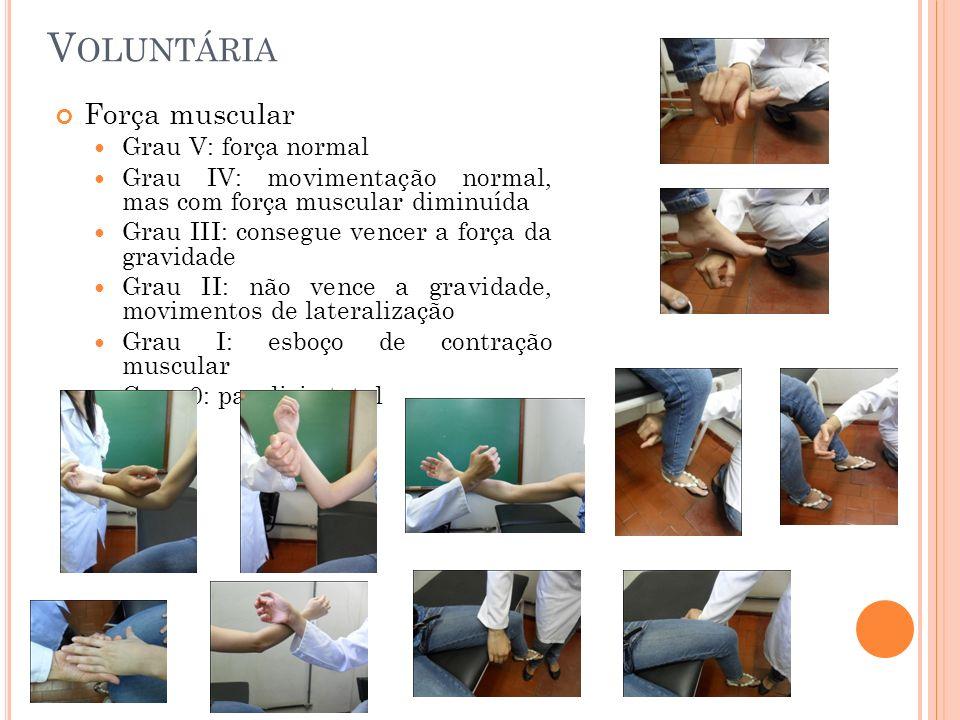 Voluntária Força muscular Grau V: força normal