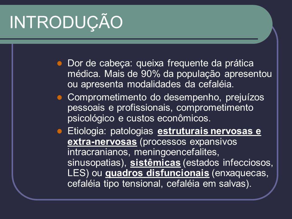 INTRODUÇÃO Dor de cabeça: queixa frequente da prática médica. Mais de 90% da população apresentou ou apresenta modalidades da cefaléia.