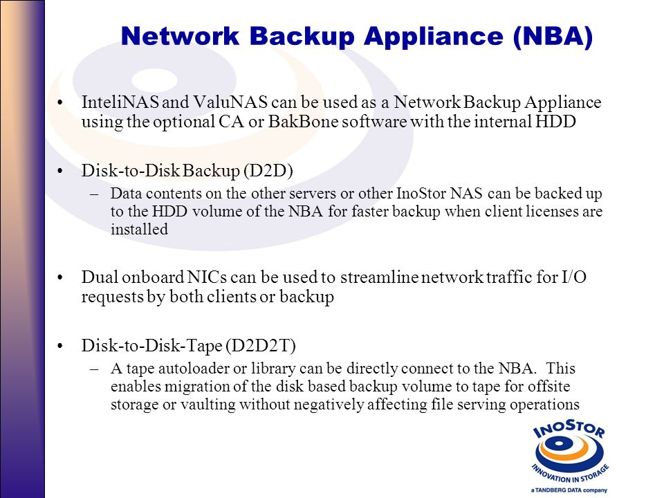 Network Backup Appliance (NBA)