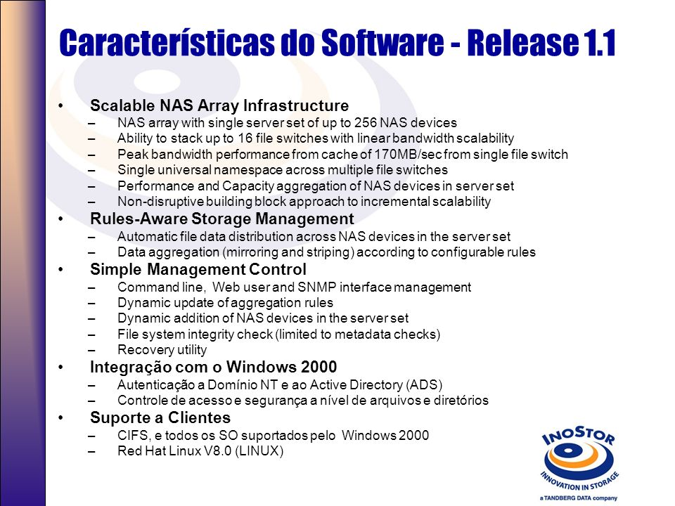 Características do Software - Release 1.1