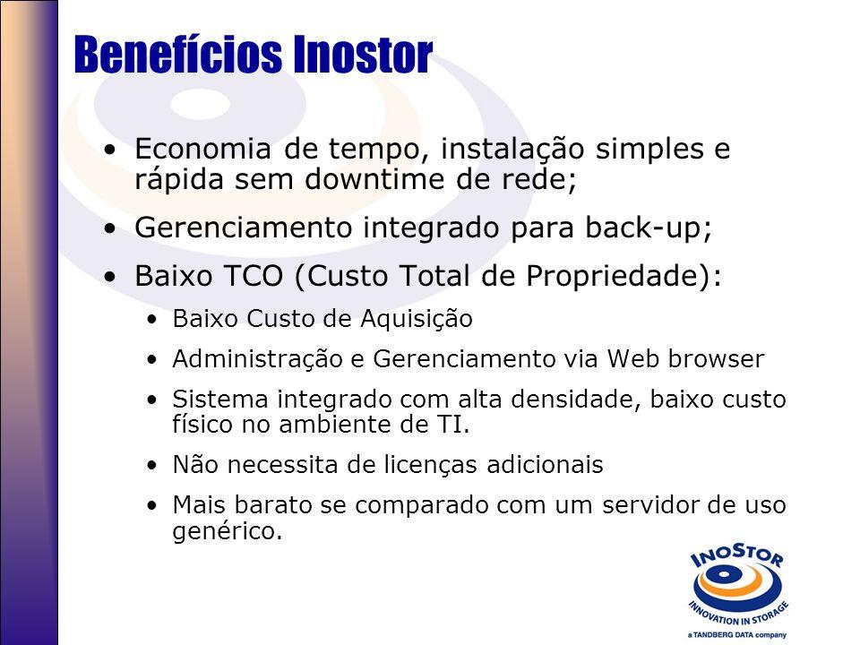 Benefícios Inostor Economia de tempo, instalação simples e rápida sem downtime de rede; Gerenciamento integrado para back-up;
