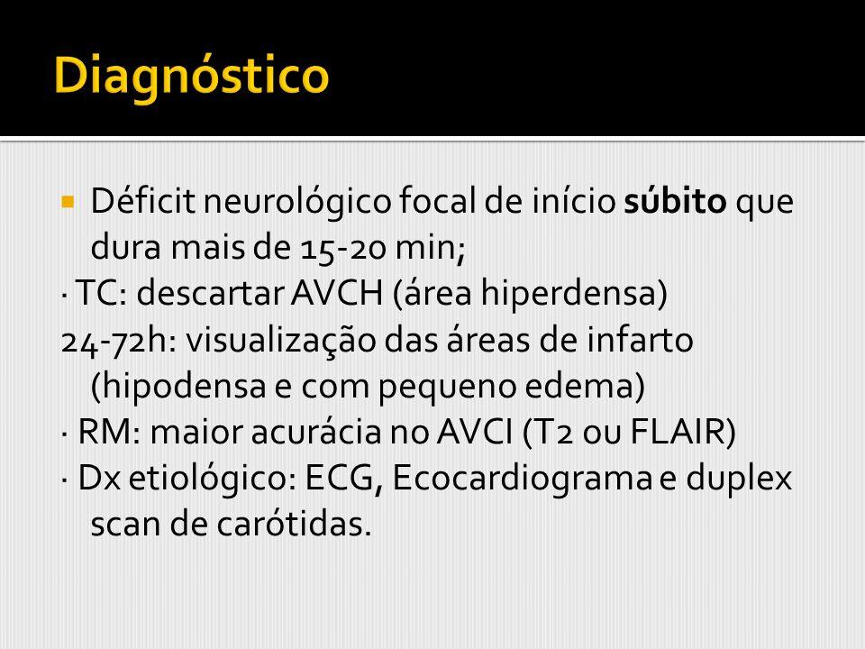 Diagnóstico Déficit neurológico focal de início súbito que dura mais de 15-20 min; · TC: descartar AVCH (área hiperdensa)