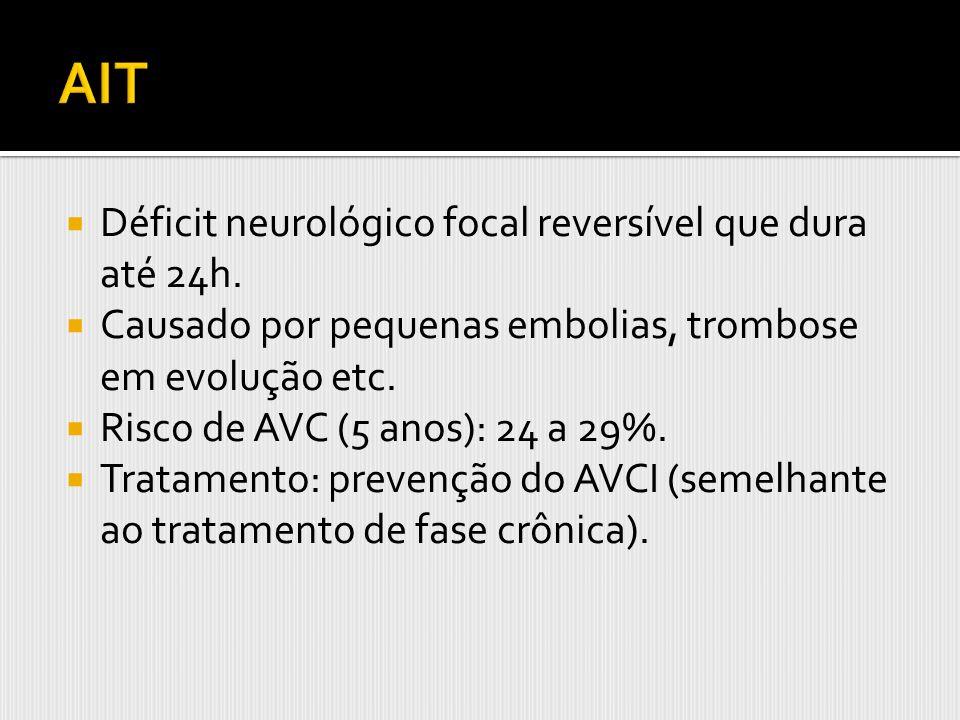 AIT Déficit neurológico focal reversível que dura até 24h.