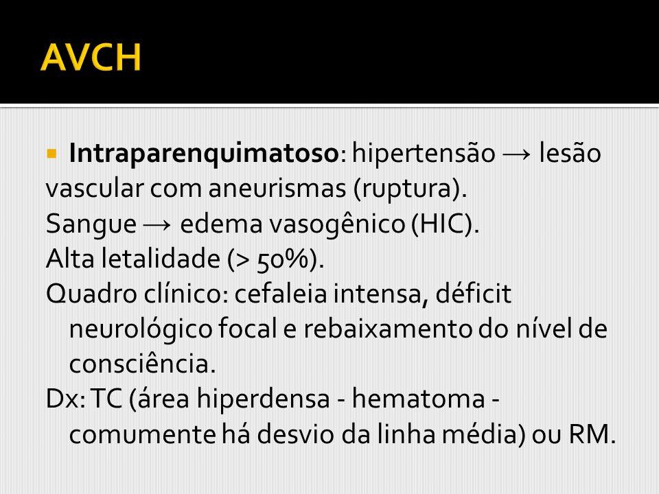 AVCH Intraparenquimatoso: hipertensão → lesão